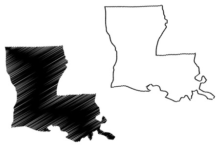 Louisiana map vector illustration, scribble sketch Louisiana map