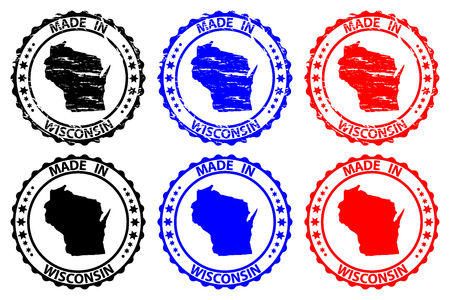Made in Wisconsin - rubber stamp - vector, Wisconsin (United States of America) map pattern - black, blue  and red Ilustração