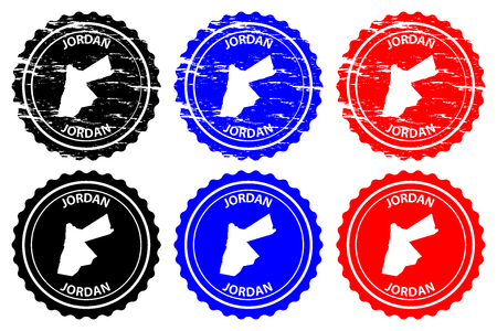 Jordan - rubber stamp - vector, The Hashemite Kingdom of Jordan map pattern - sticker - black, blue and red