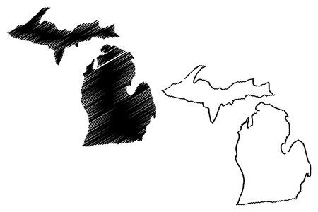Michigan map vector illustration, scribble sketch Michigan map