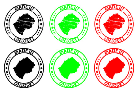 Made in Lesotho - rubber stamp - vector, Lesotho map pattern - black, green and red