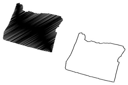 Oregon map vector illustration, scribble sketch Oregon map 写真素材 - 103341352