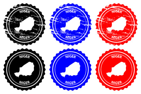 Niger - rubber stamp - vector, Republic of the Niger map pattern - sticker - black, blue and red