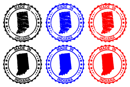 Made in Indiana - rubber stamp - vector, Indiana (United States of America) map pattern - black, blue  and red Illusztráció