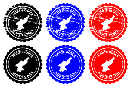 North Korea - rubber stamp - vector, Democratic People's Republic of Korea (DPRK, PRK, DPR Korea, or Korea DPR) map pattern - sticker - black, blue and red 일러스트