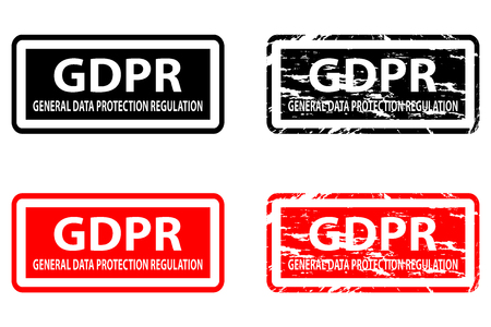 GDPR (General Data Protection Regulation) - rubber stamp - vector - black and red,