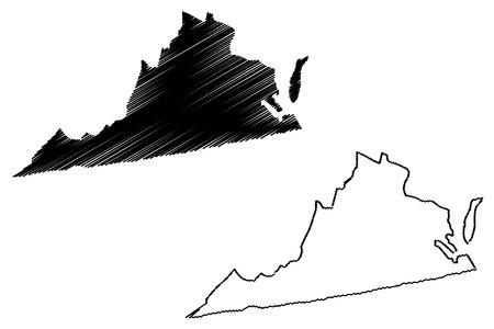 バージニアマップベクトルイラスト、落書きスケッチバージニアマップ