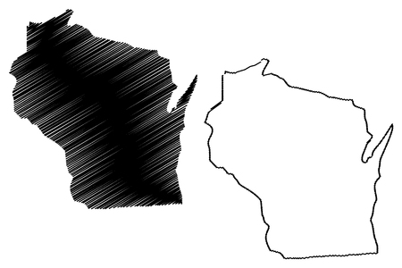 Wisconsin map vector illustration, scribble sketch Wisconsin map  イラスト・ベクター素材