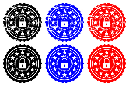 GDPR (General Data Protection Regulation) - rubber stamp - vector - black, blue and red,