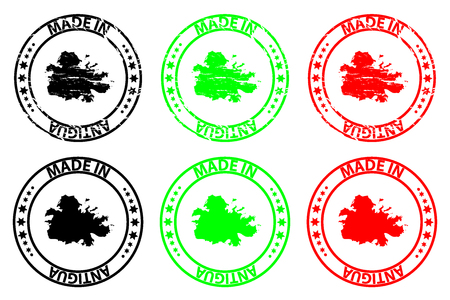 Made in Antigua - rubber stamp - vector, Antigua map pattern - black, green and red
