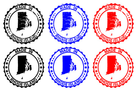 Made in Rhode Island - rubber stamp - vector, Rhode Island (United States of America) map pattern - black, blue  and red