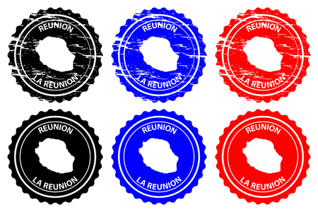 Reunion - rubber stamp - vector,  La Reunion island map pattern - sticker - black, blue and red Ilustrace