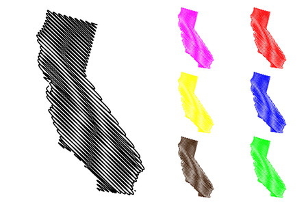 California map vector illustration, scribble sketch California map black, red, blue, green, yellow, purple