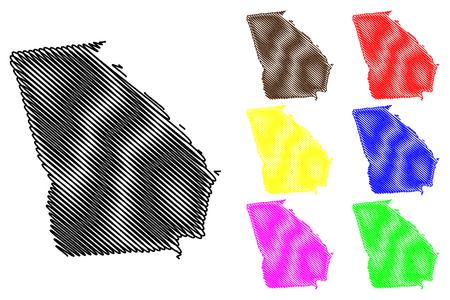 Georgia map vector illustration, scribble sketch Georgia map black, red, blue, green, yellow, purple Illustration