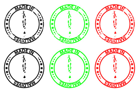Made in Maldives - rubber stamp - vector, Republic of Maldives map pattern - black, green and red