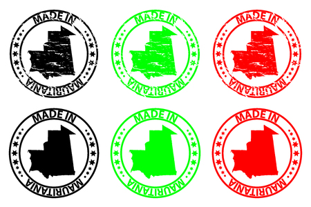 Made in Mauritania - rubber stamp - vector, Mauritania map pattern - black, green and red