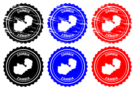 Zambia - rubber stamp - vector, Republic of Zambia map pattern - sticker - black, blue and red