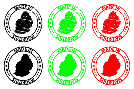 Made in Mauritius - rubber stamp - vector, Republic of Mauritius island map pattern - black, green and red