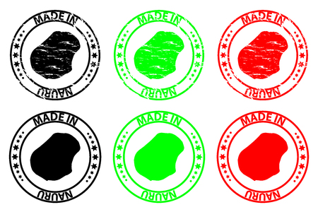Made in Nauru - rubber stamp - vector, Republic of Nauru (Pleasant Island) map pattern - black, green and red