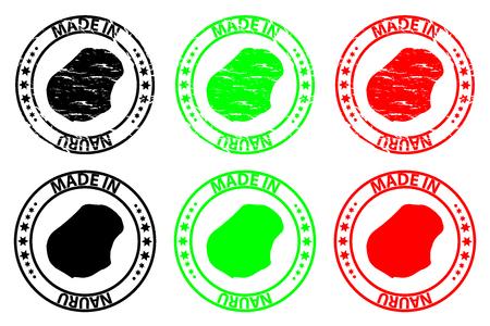 Made in Nauru - rubber stamp - vector, Republic of Nauru (Pleasant Island) map pattern - black, green and red