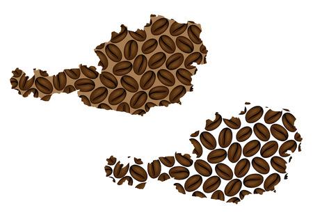 Austria - map of coffee bean, Republic of Austria map made of coffee beans,