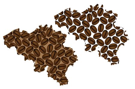 Belgium -  map of coffee bean, Kingdom of Belgium map made of coffee beans,