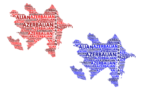 Sketch Azerbaijan letter text map, Azerbaijan - in the shape of the continent, Map Republic of Azerbaijan - red and blue vector illustration
