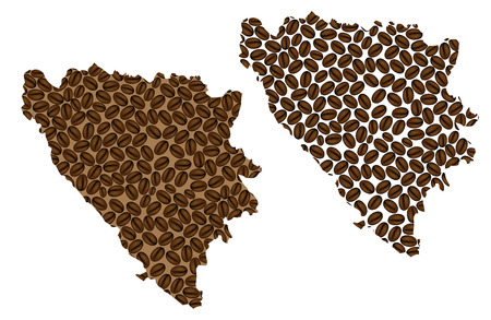 Bosnia and Herzegovina -  map of coffee bean, Bosnia and Herzegovina map made of coffee beans,  イラスト・ベクター素材