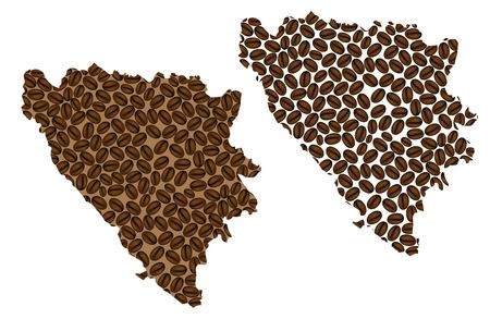 Bosnia and Herzegovina -  map of coffee bean, Bosnia and Herzegovina map made of coffee beans, Illustration