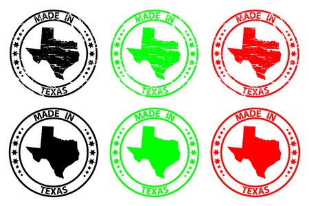 Made in Texas- rubber stamp - vector, Texas (United States of America) map pattern - black, green  and red