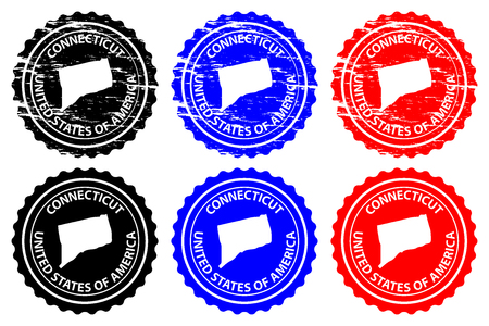 Connecticut - rubber stamp - vector, Connecticut (United States of America) map pattern - sticker - black, blue and red