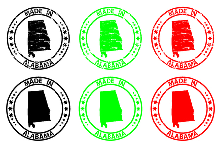 Made in Alabama - rubber stamp - vector, Alabama (United States of America) map pattern - black, green  and red