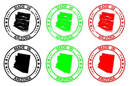 Made in Arizona - rubber stamp - vector, Arizona (United States of America) map pattern - black, green  and red