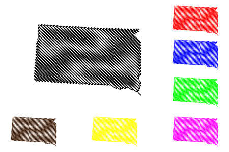 South Dakota map vector illustration, scribble sketch South Dakota map black, red, blue, green, yellow, purple