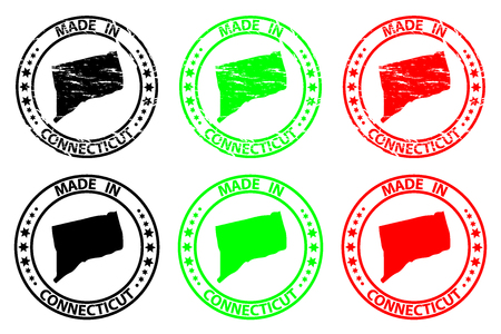 Made in Connecticut - rubber stamp - vector, Connecticut (United States of America) map pattern - black, green  and red