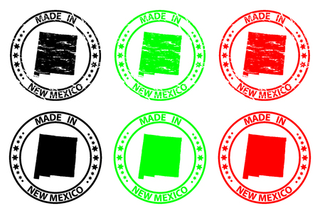 Made in New Mexico - rubber stamp - vector, Texas (United States of America) map pattern - black, green and red