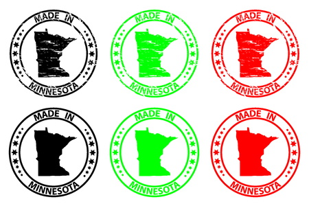 Made in Minnesota - rubber stamp - vector, Minnesota (United States of America) map pattern - black, green  and red Illustration