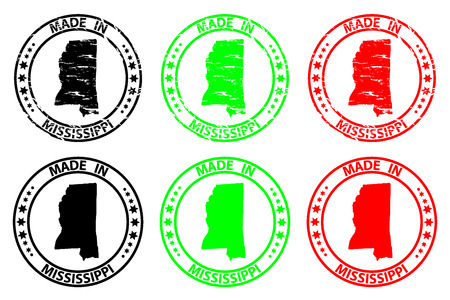 Made in Mississippi - rubber stamp - vector, Mississippi (United States of America) map pattern - black, green and red