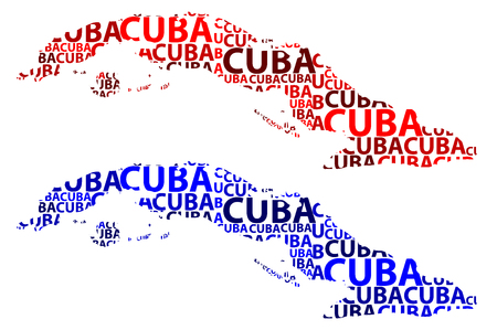 Sketch Cuba letter text map, Cuba - in the shape of the continent, Map Republic of Cuba - red and blue vector illustration  イラスト・ベクター素材