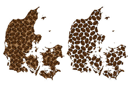 Denmark - map of coffee bean, Kingdom of Denmark map made of coffee beans,