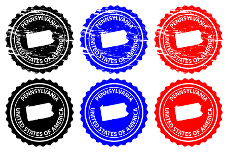 Pennsylvania - rubber stamp - vector, Pennsylvania (United States of America) map pattern - sticker - black, blue and red  イラスト・ベクター素材