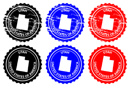 Utah - rubber stamp - vector, Utah (United States of America) map pattern - sticker - black, blue and red