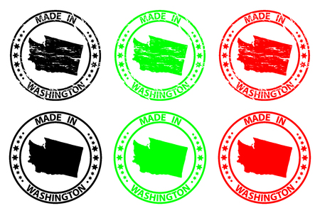 Made in Washington - rubber stamp - vector, Washington (United States of America) map pattern - black, green and red