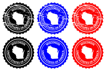 Wisconsin - rubber stamp - vector, Wisconsin (United States of America) map pattern - sticker - black, blue and red