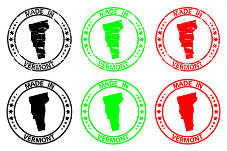 Made in Vermont - rubber stamp - vector, Vermont (United States of America) map pattern - black, green and red