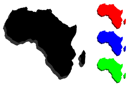 3D map of Africa continent - black, red, blue and green - vector illustration