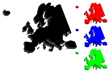 3D map of Europe continent - black, red, blue and green - vector illustration Illustration