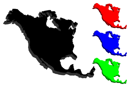 3D map of North America continent - black, red, blue and green - vector illustration