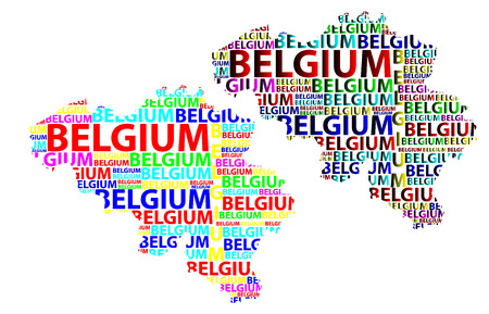 Sketch Belgium letter text map, Belgium - in the shape of the continent, Map of Kingdom of Belgium - color vector illustration  イラスト・ベクター素材