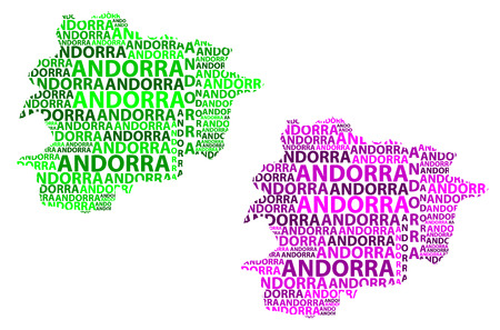 Sketch Andorra letter text map, Andorra - in the shape of the continent, Map of Principality of the Valleys of Andorra - green and purple vector illustration 일러스트